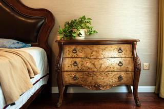美式混搭别墅装修床头柜图片