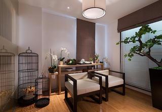 现代中式三居之家茶室布置图