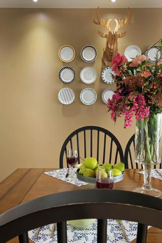 140平混搭四居室装修餐厅背景墙图片