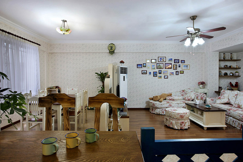 三居室田园风格家客餐厅全景图