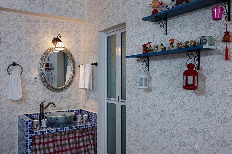 三居室田园风格家洗手台图片