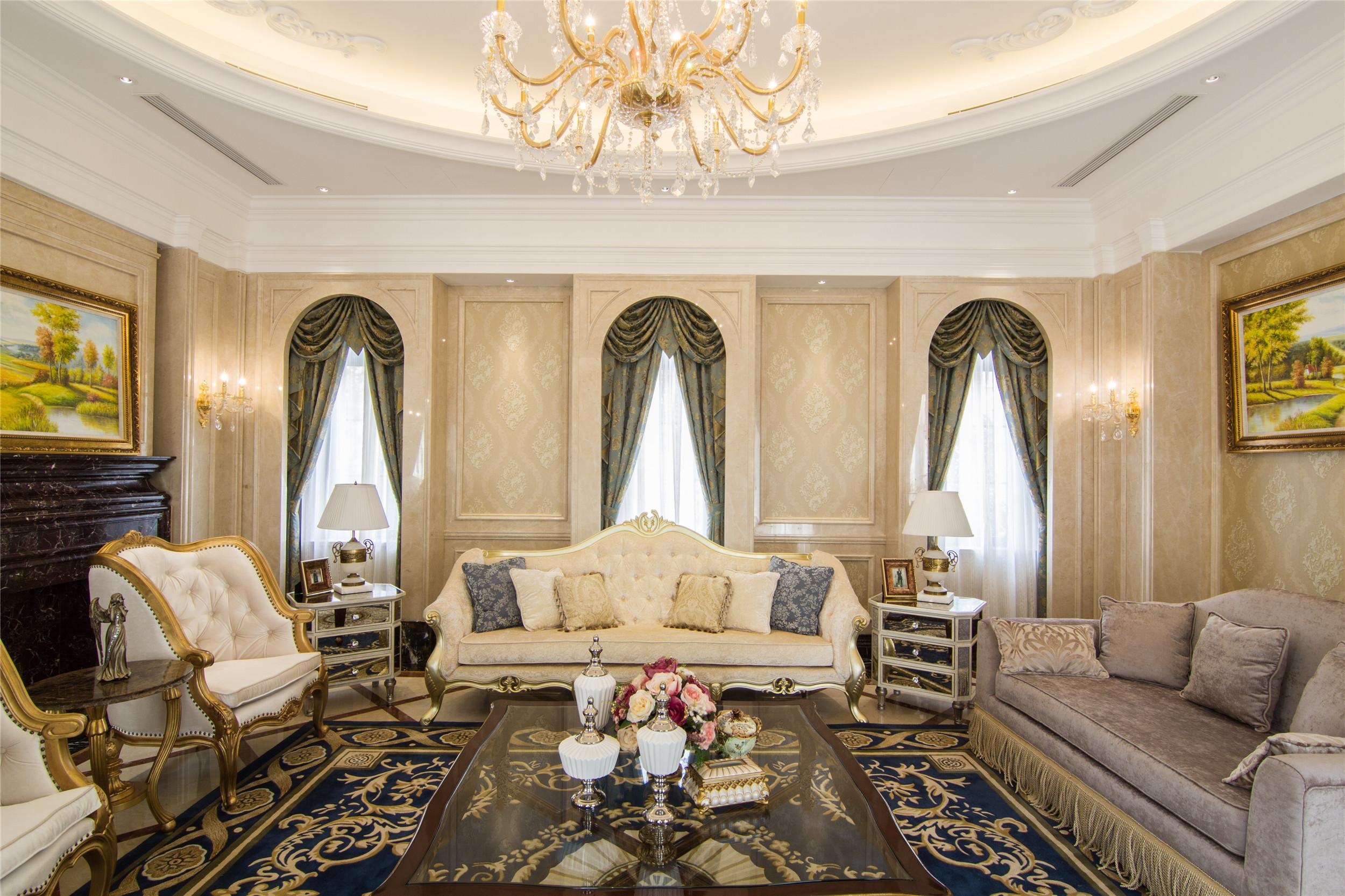 欧式精致奢华别墅装修客厅效果图