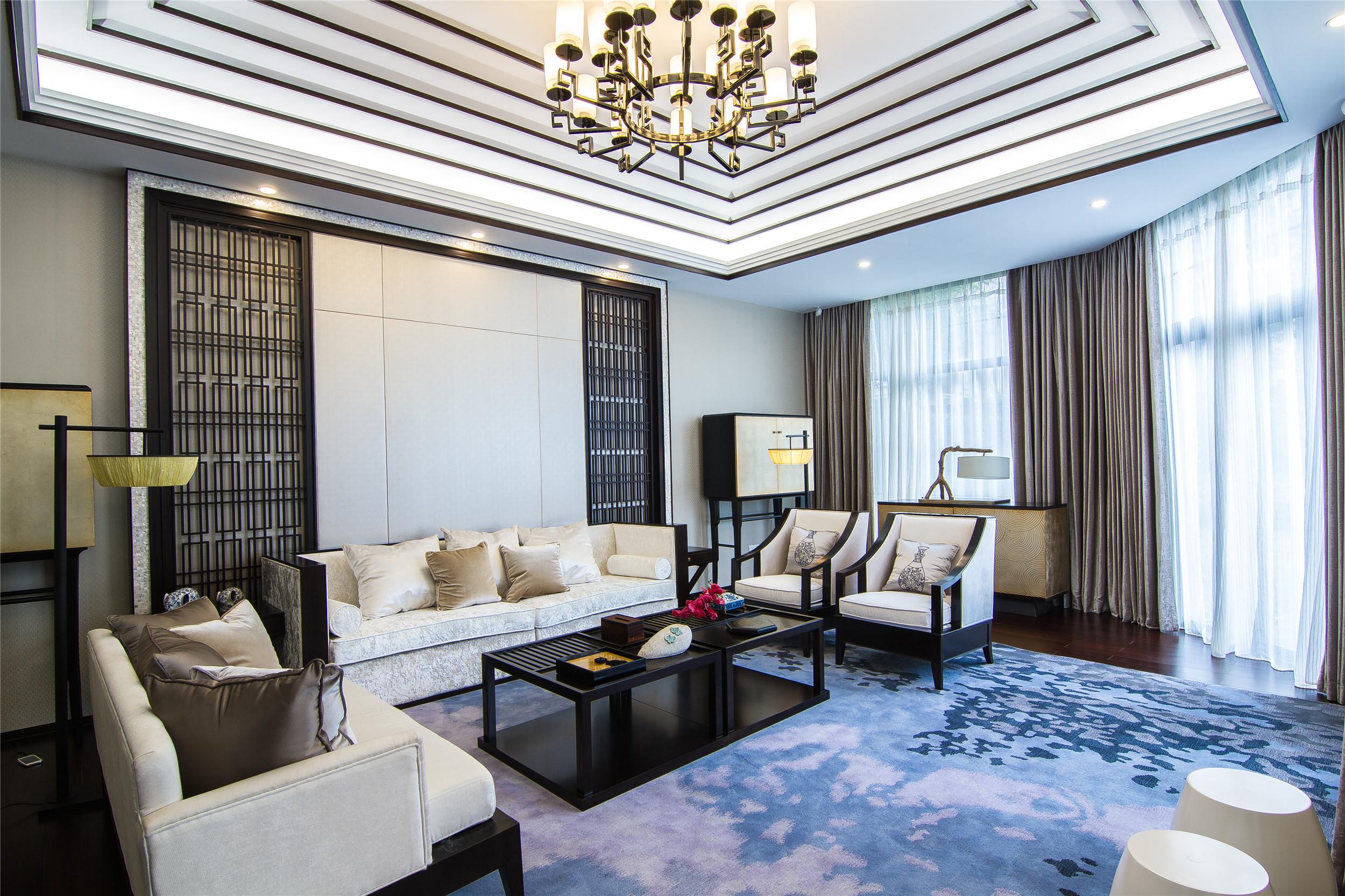 中式别墅样板房装修客厅效果图