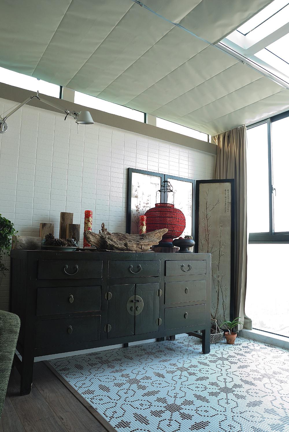 89平美式休闲两居装修阳光房布置图