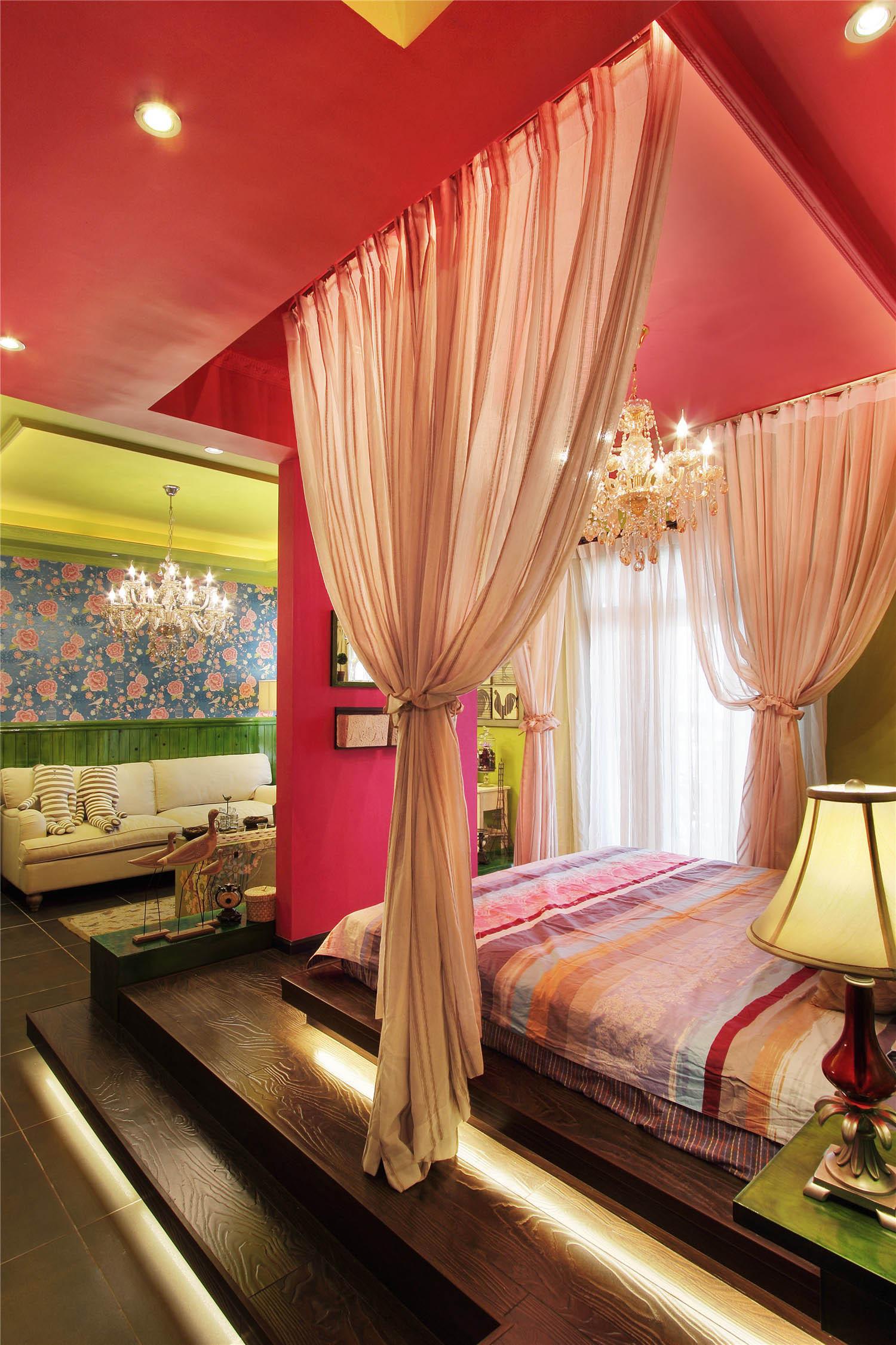 两居室混搭风格家卧室吊顶