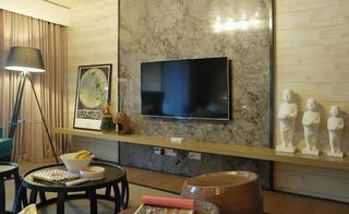 110平三居室装修电视背景墙图片