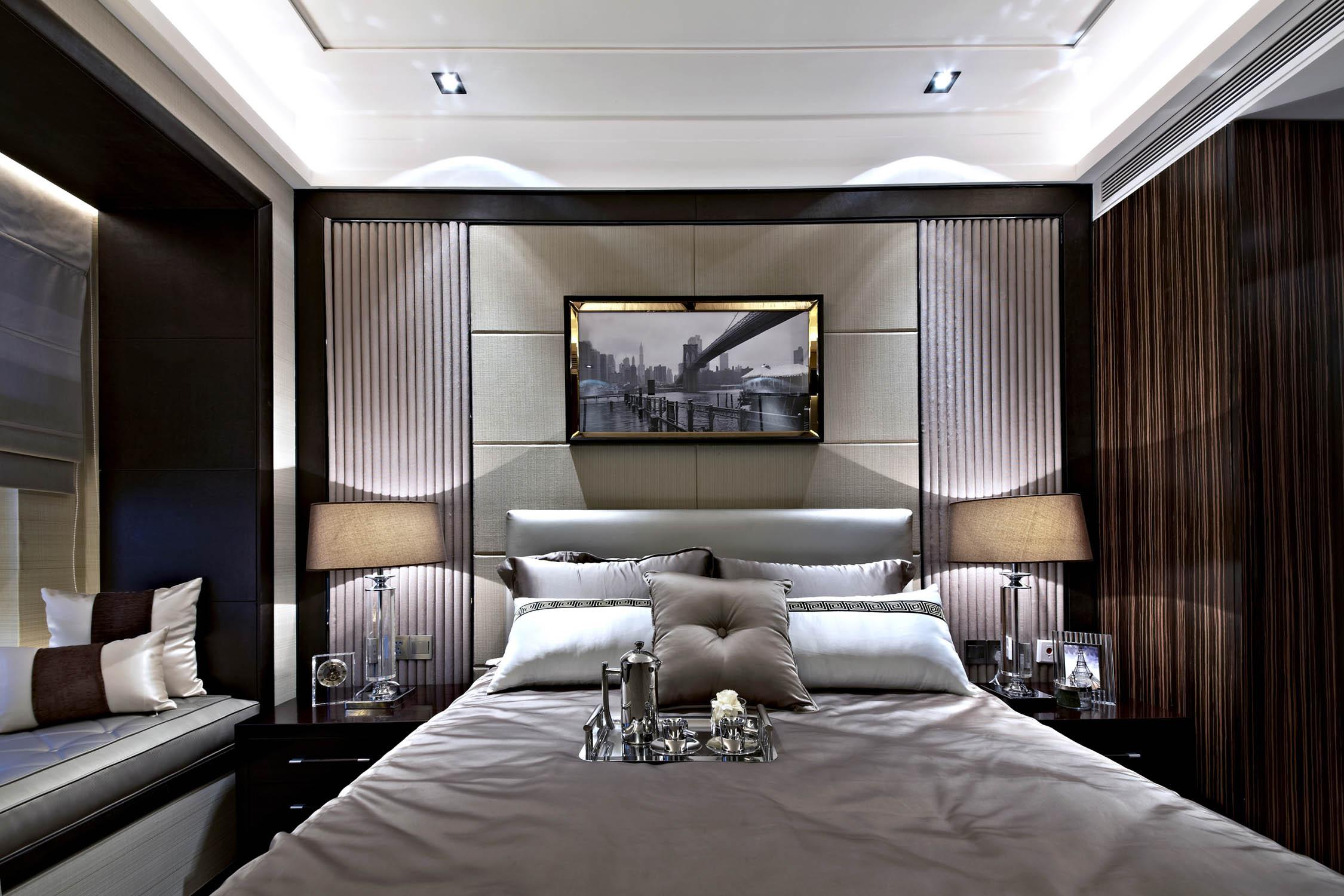 后现代欧式样板房装修卧室背景墙图片