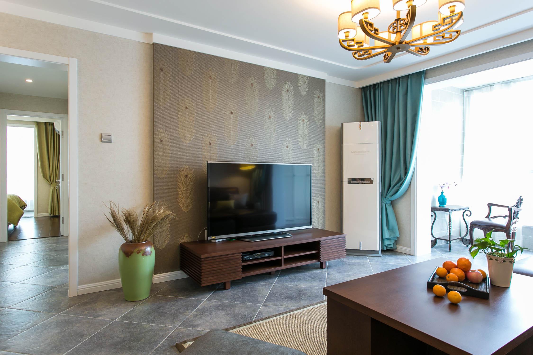 两居室混搭风格家电视背景墙图片