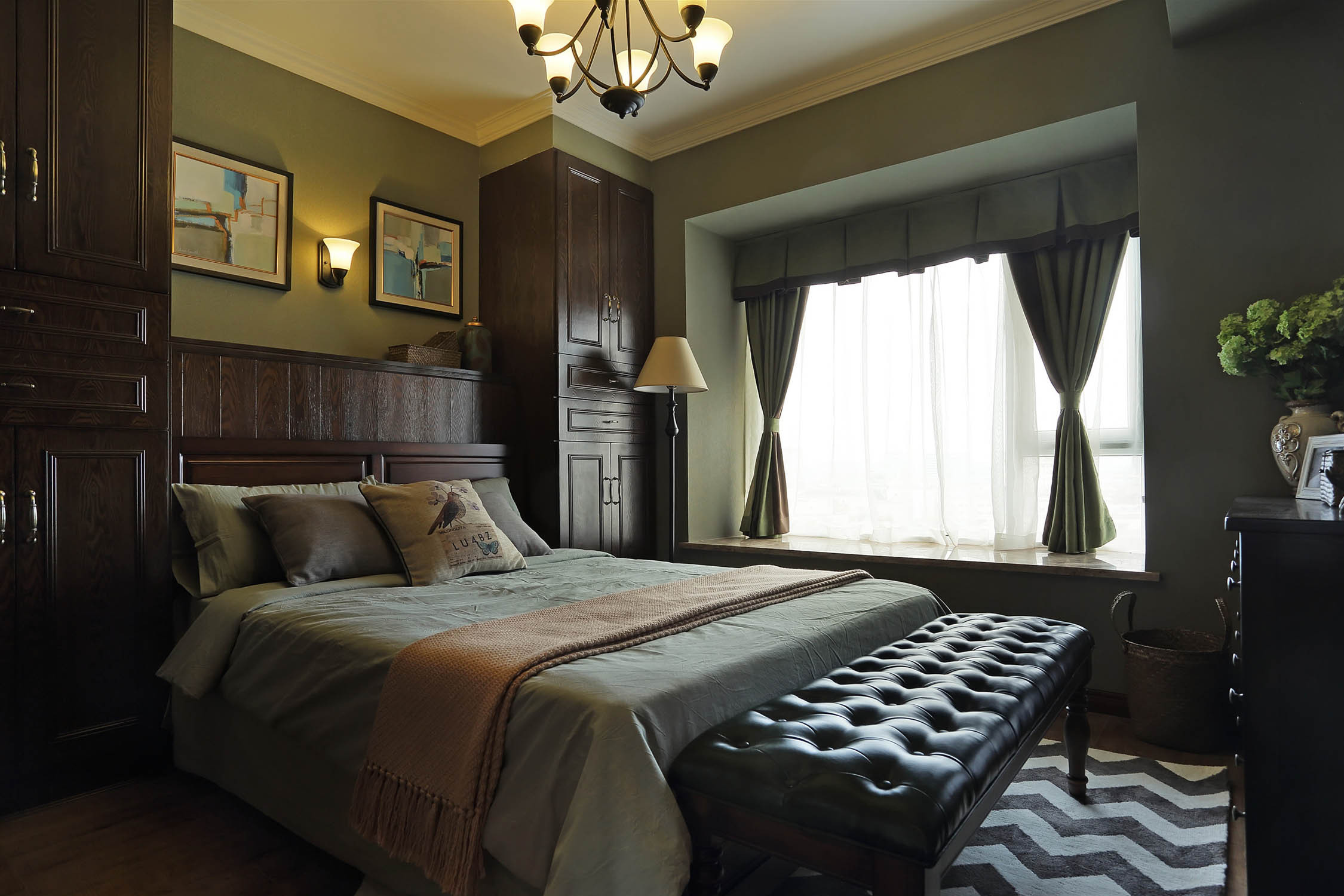 90平美式装修卧室设计图