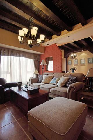 130㎡美式乡村风格装修客厅设计图