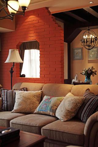 130㎡美式乡村风格装修沙发背景墙图片