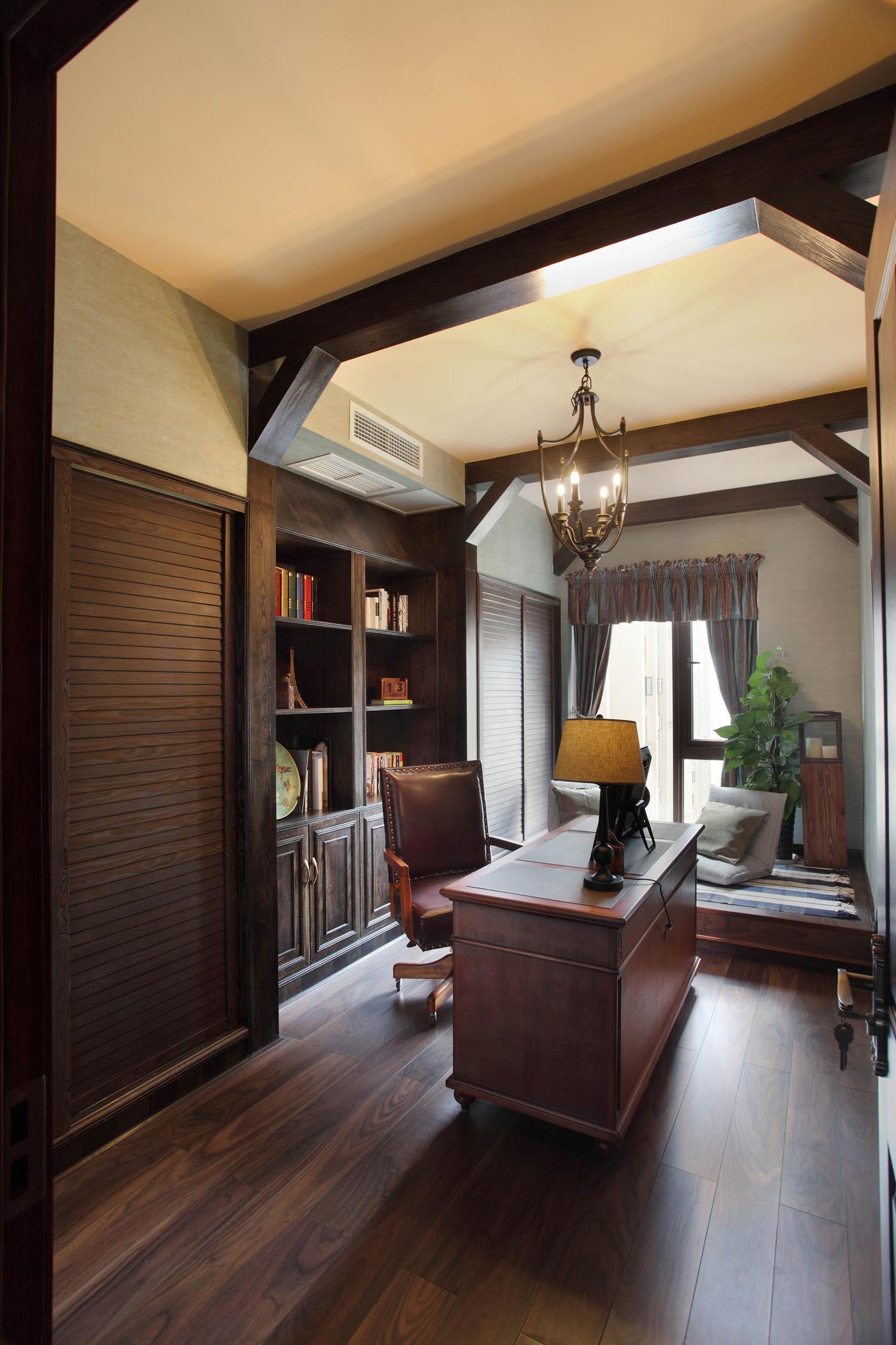 130㎡美式乡村风格装修书房设计图