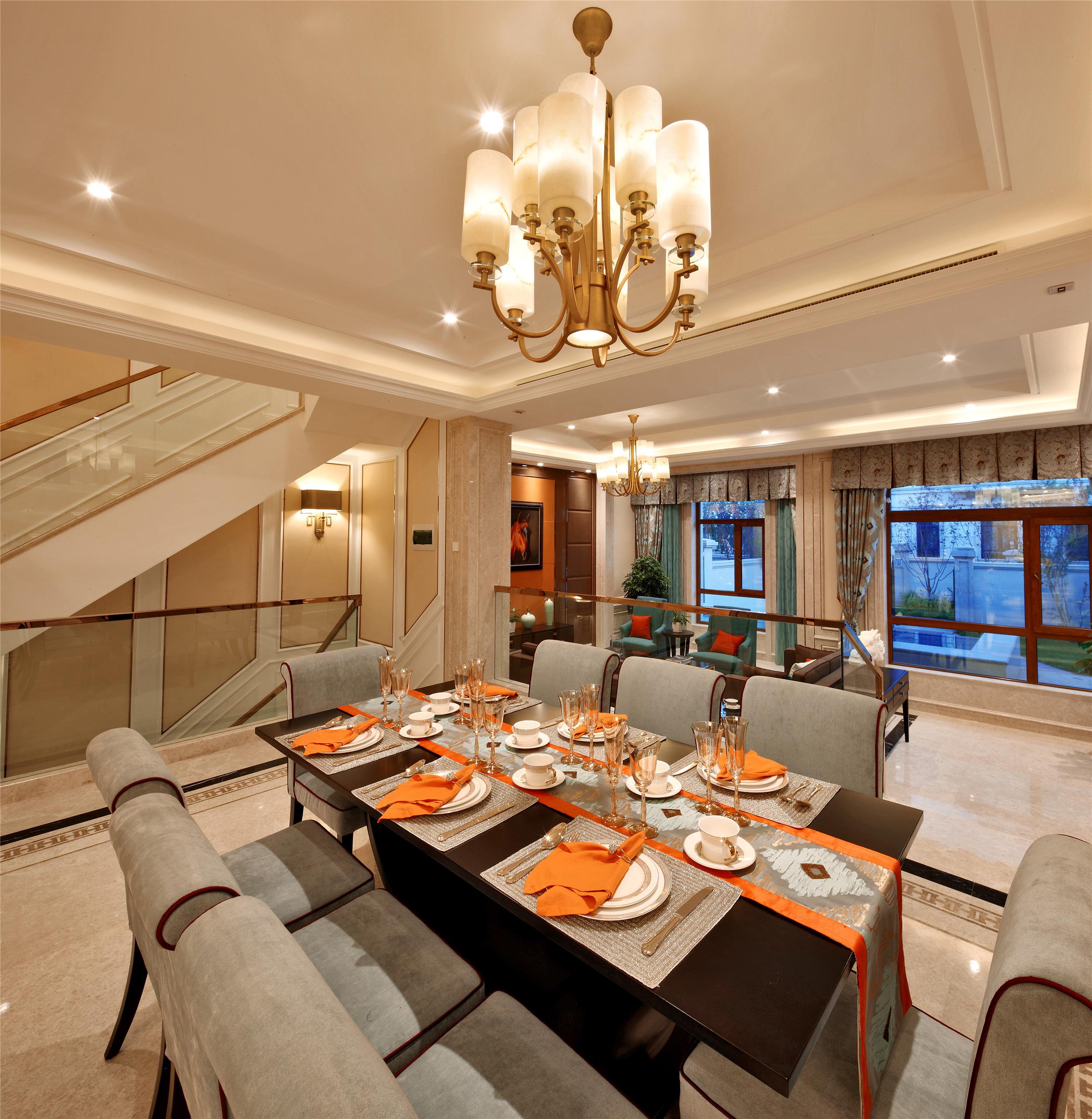 奢华别墅样板房装修餐厅设计图