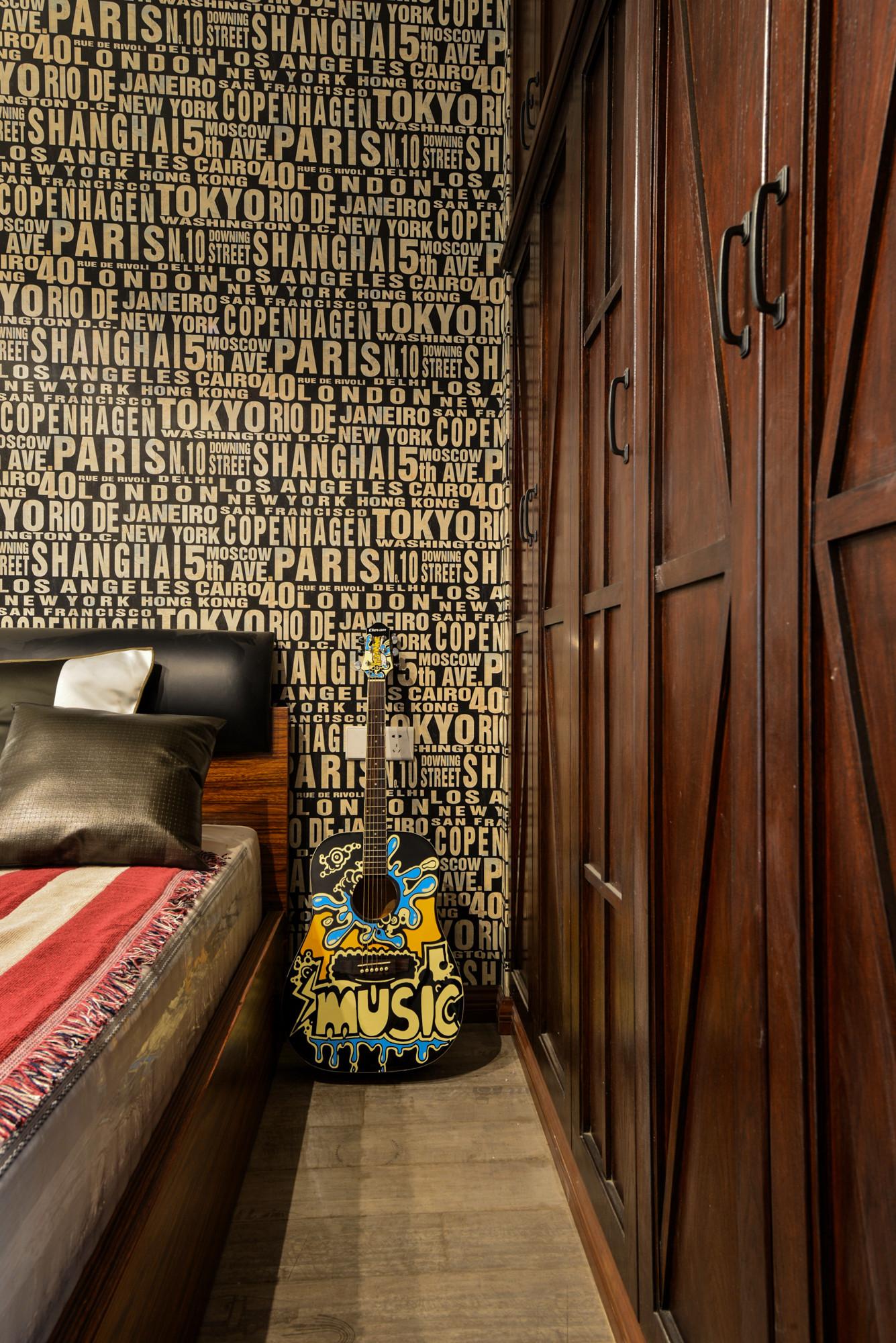 70平二居装修卧室背景墙图片