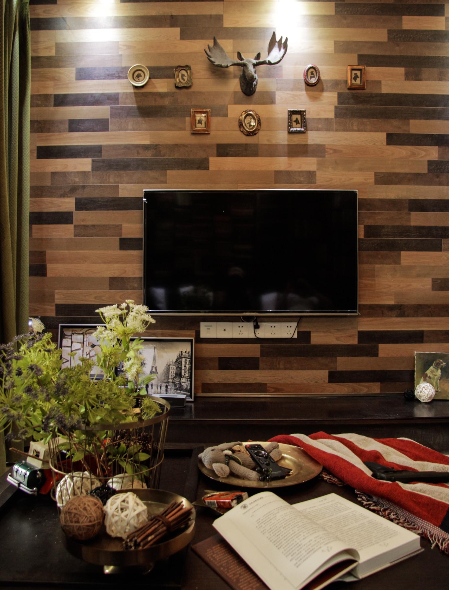 70平二居装修电视背景墙图片