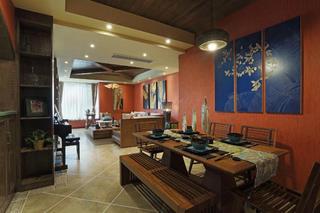 东南亚风格三居客餐厅设计图