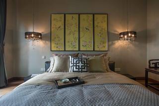 中式风格别墅设计卧室背景墙图片