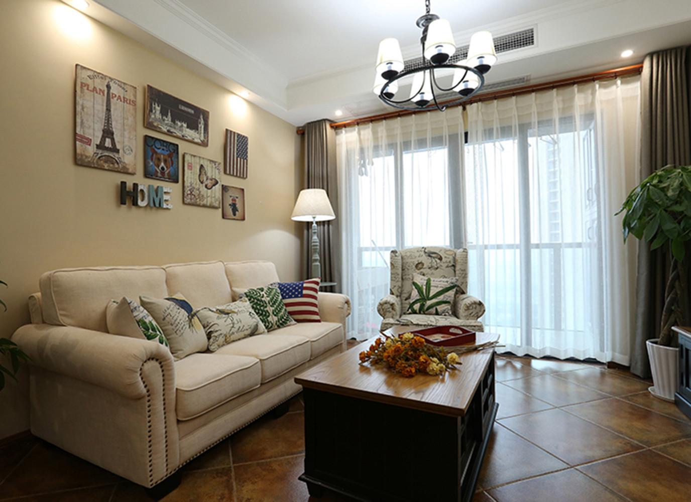 小户型美式风格家沙发背景墙设计