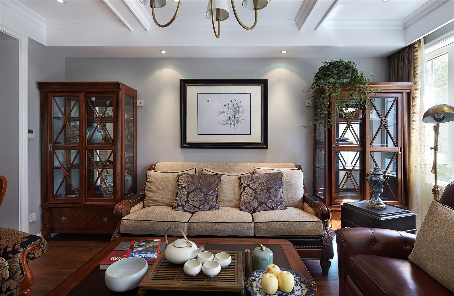 140平美式风格装修沙发墙图片
