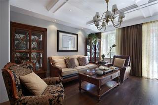140平美式风格装修客厅设计图