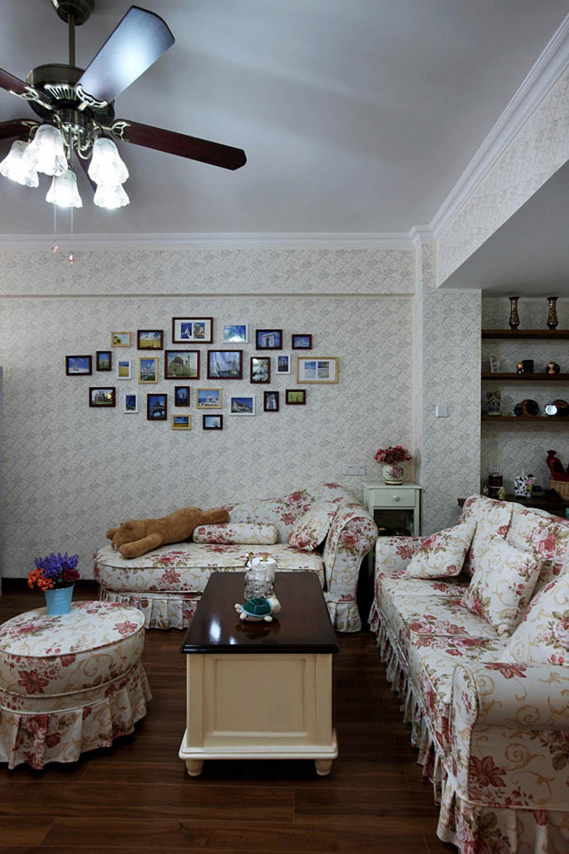 三居室田园风格家沙发背景墙设计