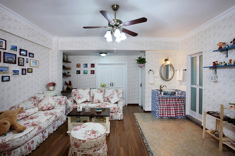 三居室田园风格家沙发图片