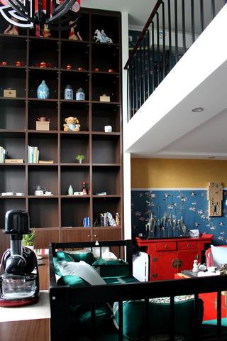80平复式新中式装修书柜设计