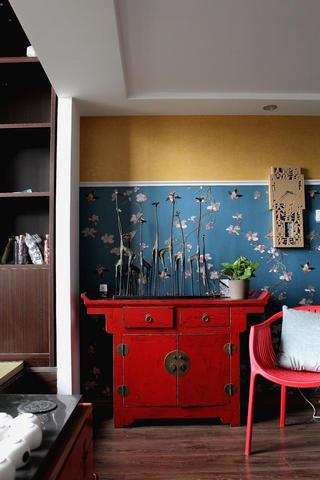 80平复式新中式装修玄关柜图片