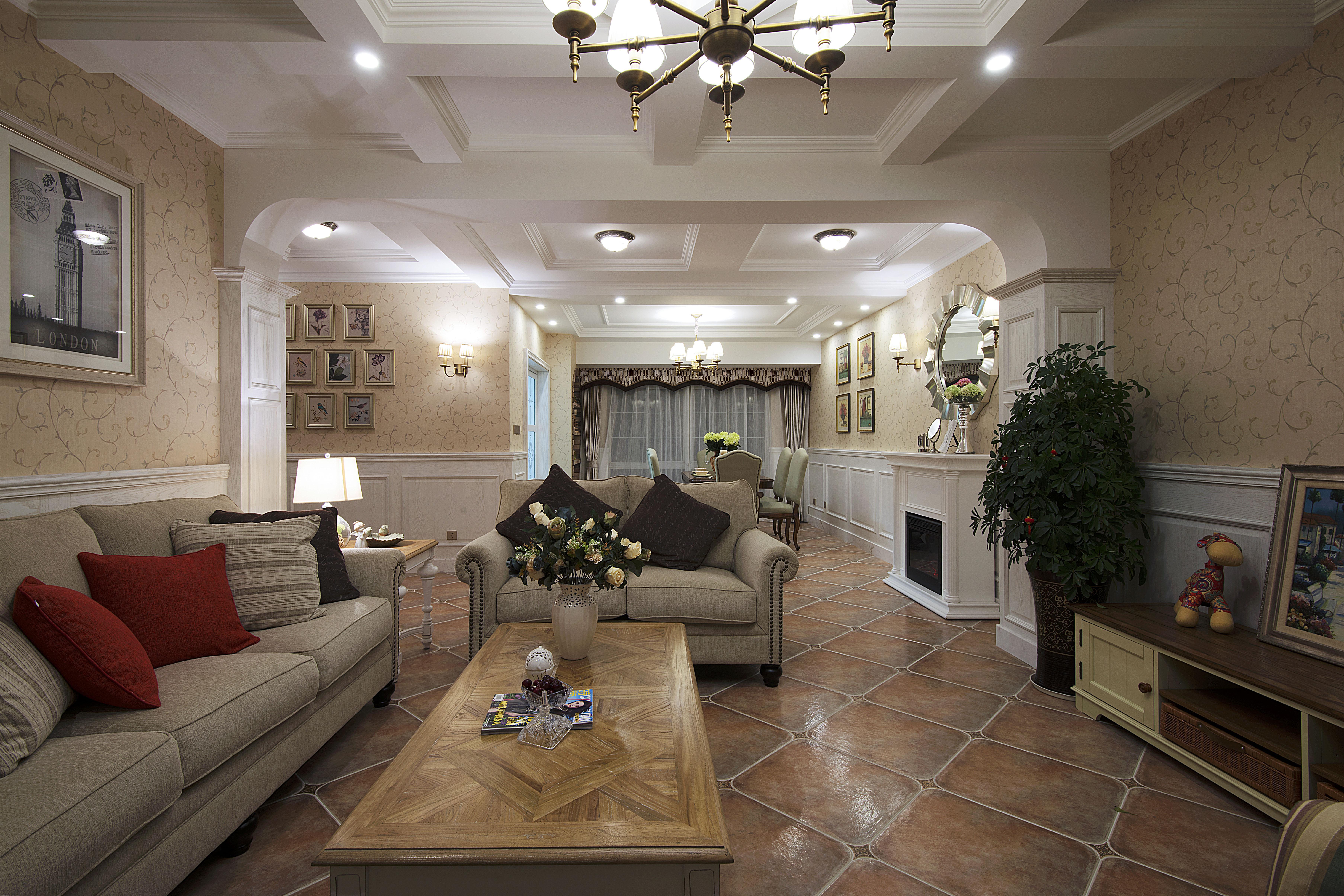 美式风格别墅设计客厅吊顶
