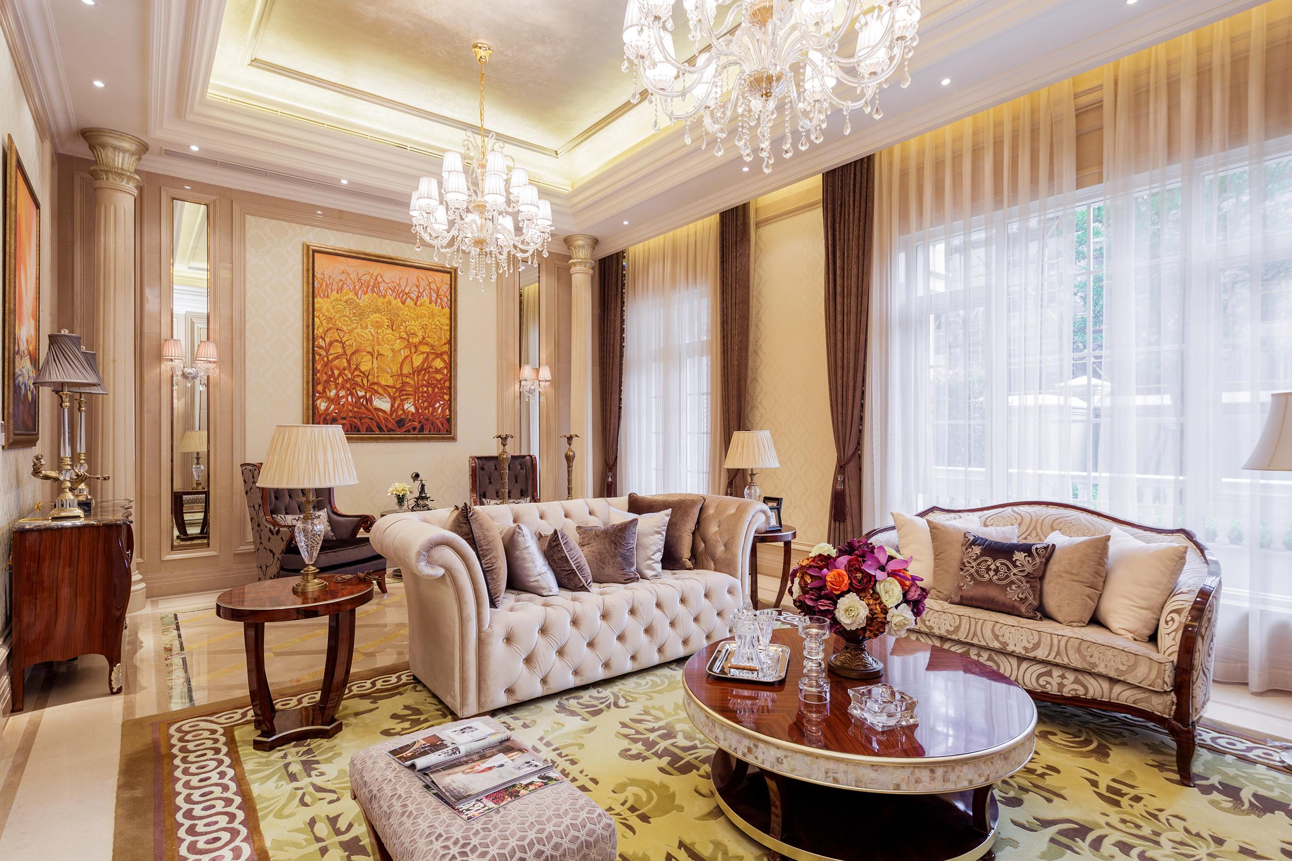 欧式古典奢华别墅装修客厅效果图