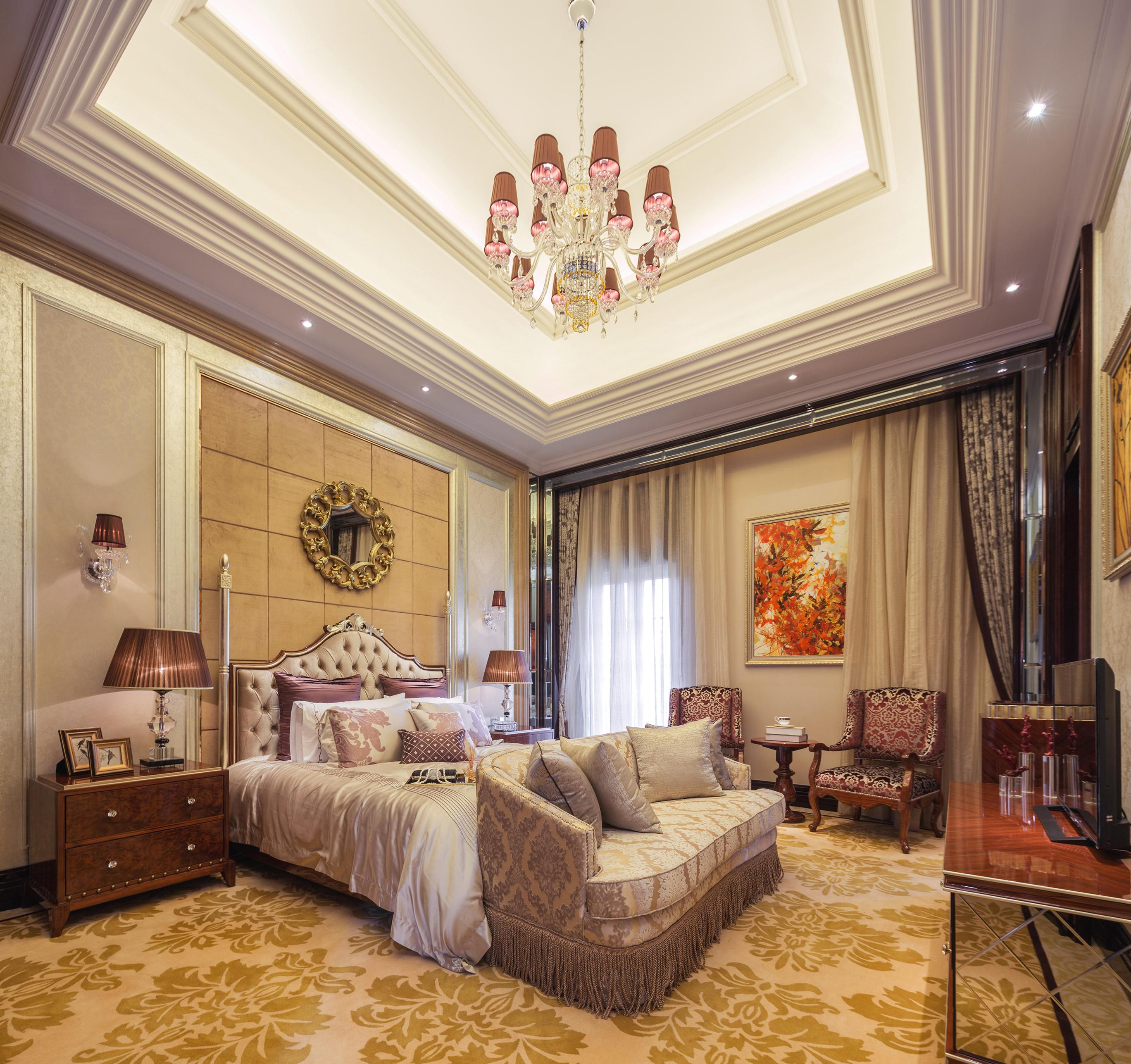欧式古典奢华别墅装修卧室设计图