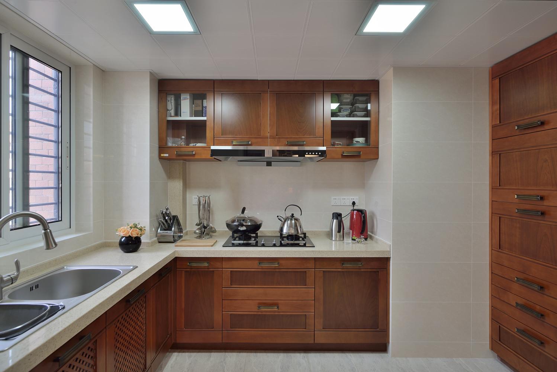 三居室现代中式家厨房效果图