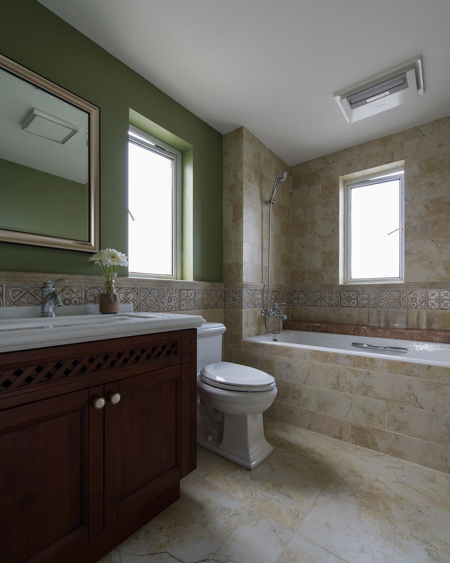 现代美式风格三居卫生间装潢图