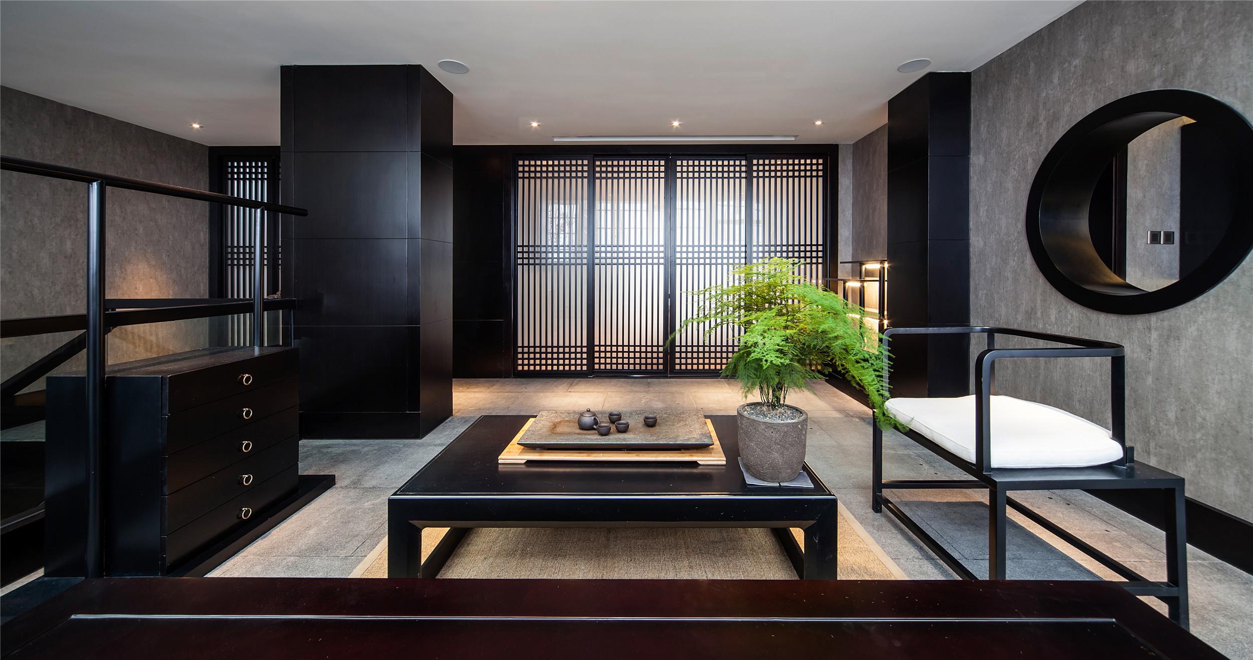 大户型中式装修茶室效果图