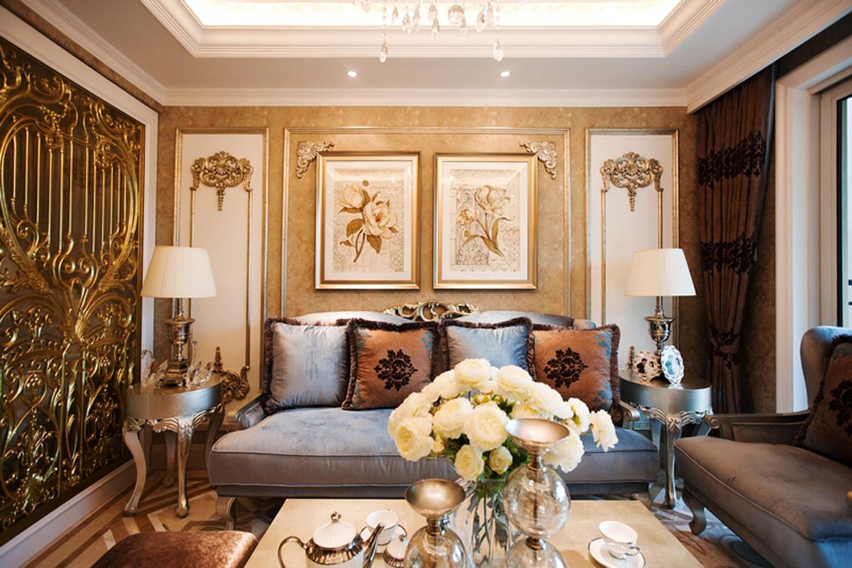 复式欧式样板间装修沙发背景墙图片