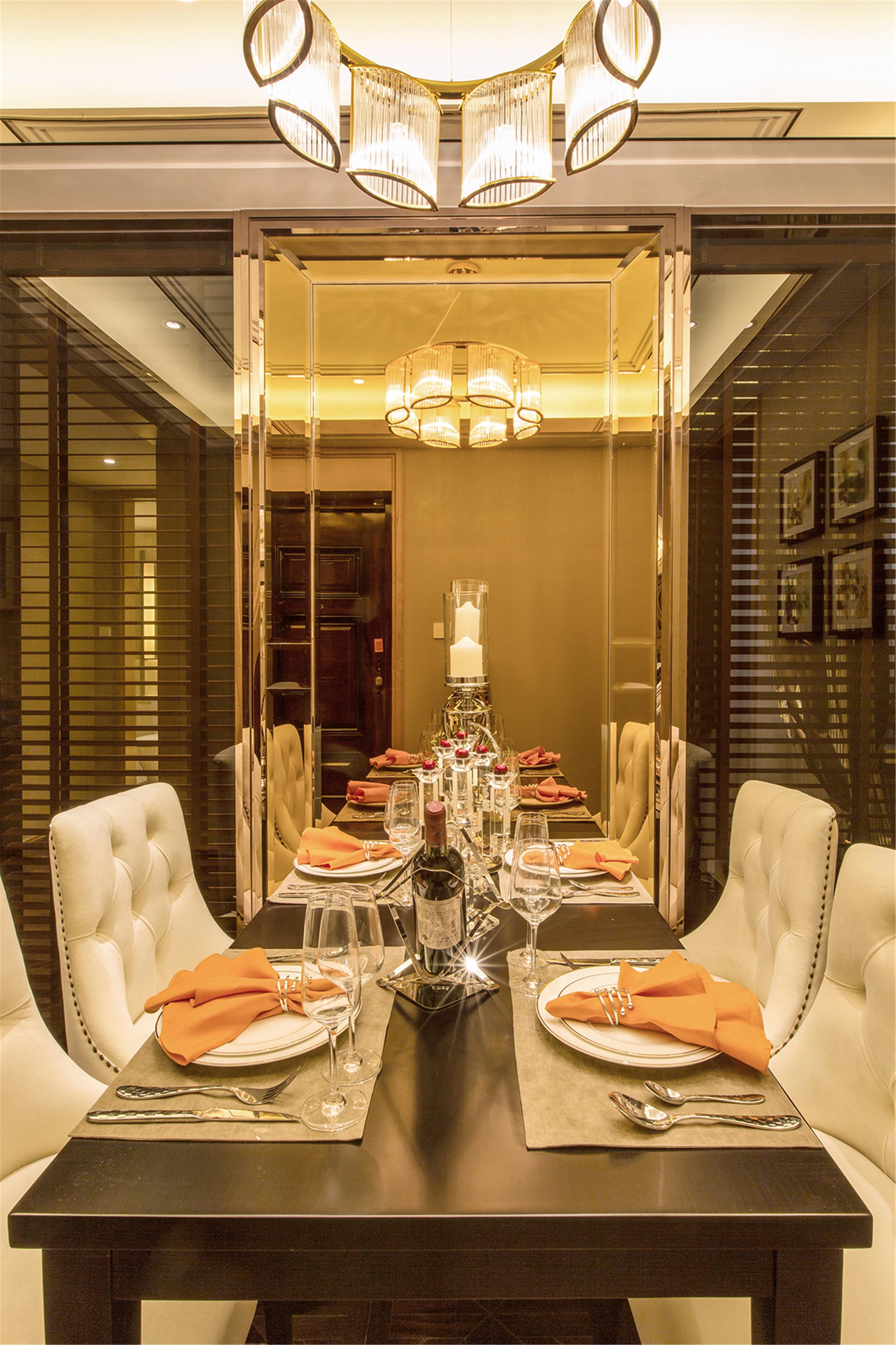 现代奢华装修餐厅背景墙图片