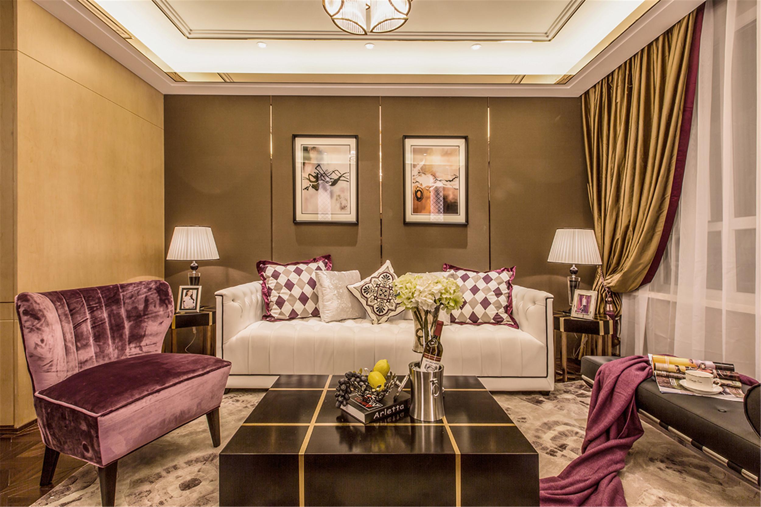 现代奢华装修客厅效果图