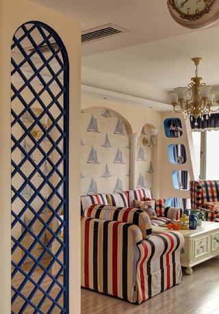 110平地中海三居装修沙发背景墙图片