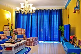 三居室地中海风格家窗帘图片