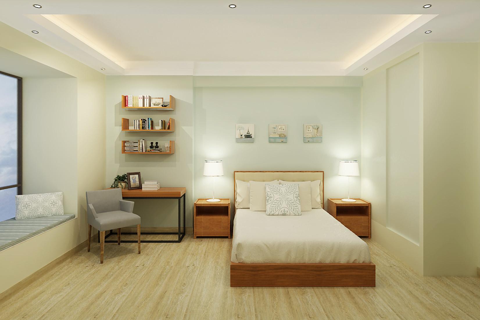 简约中式装修卧室背景墙图片