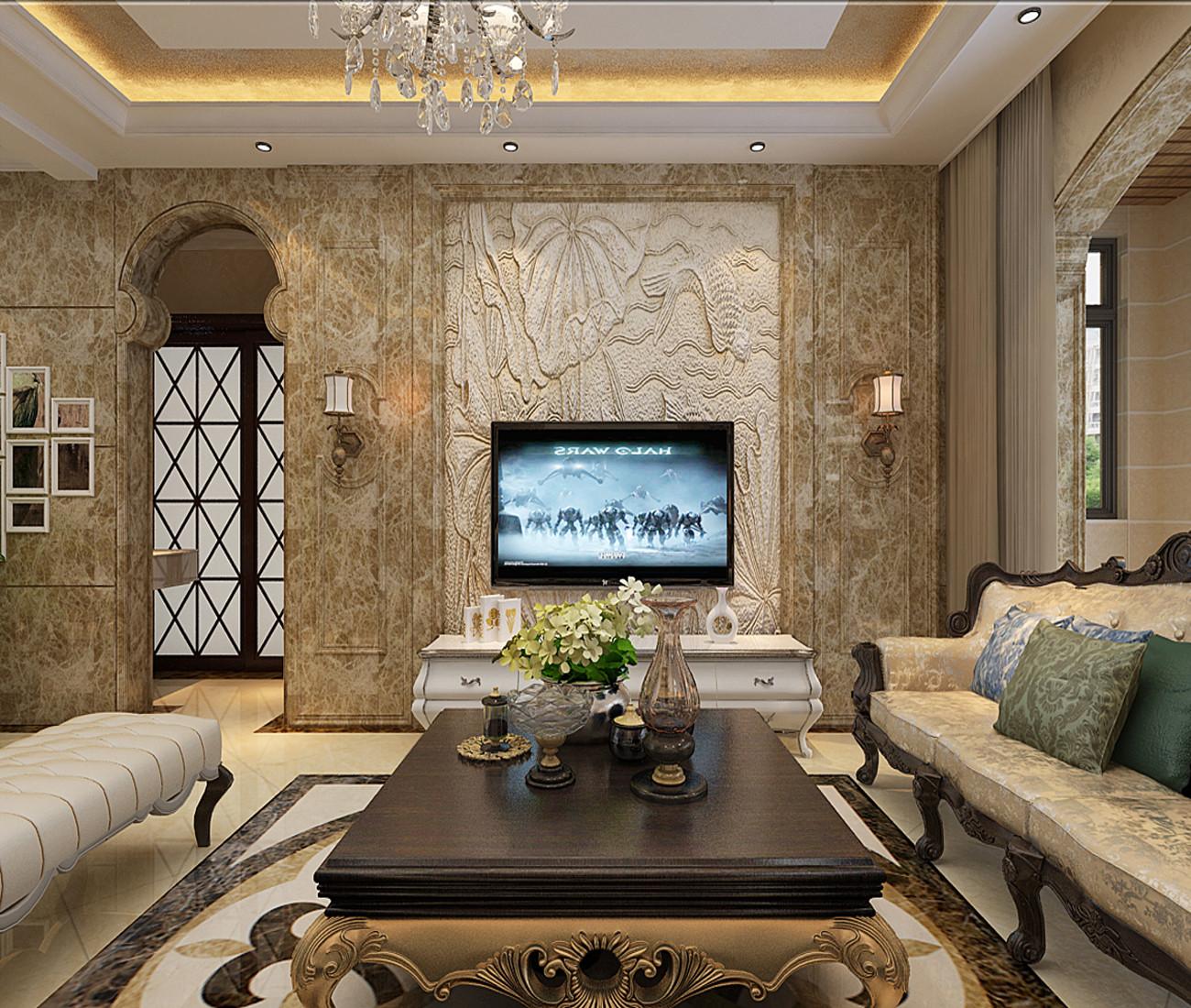 135㎡欧式装修电视背景墙设计