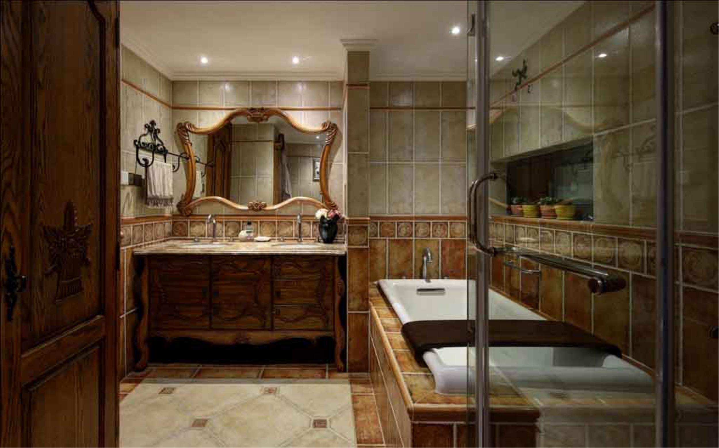大户型美式别墅装修卫生间装潢图