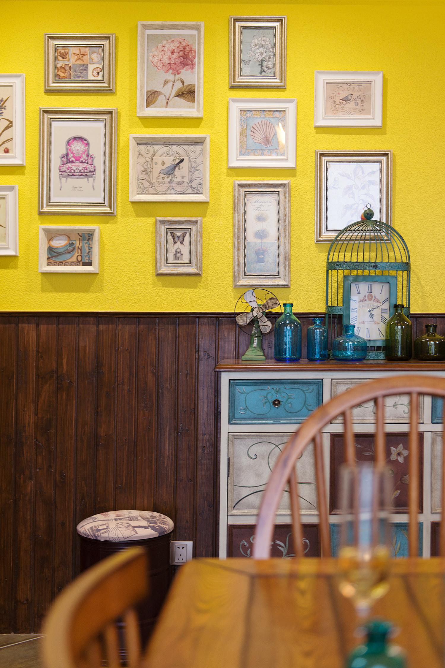 118㎡美式装修餐厅背景墙图片