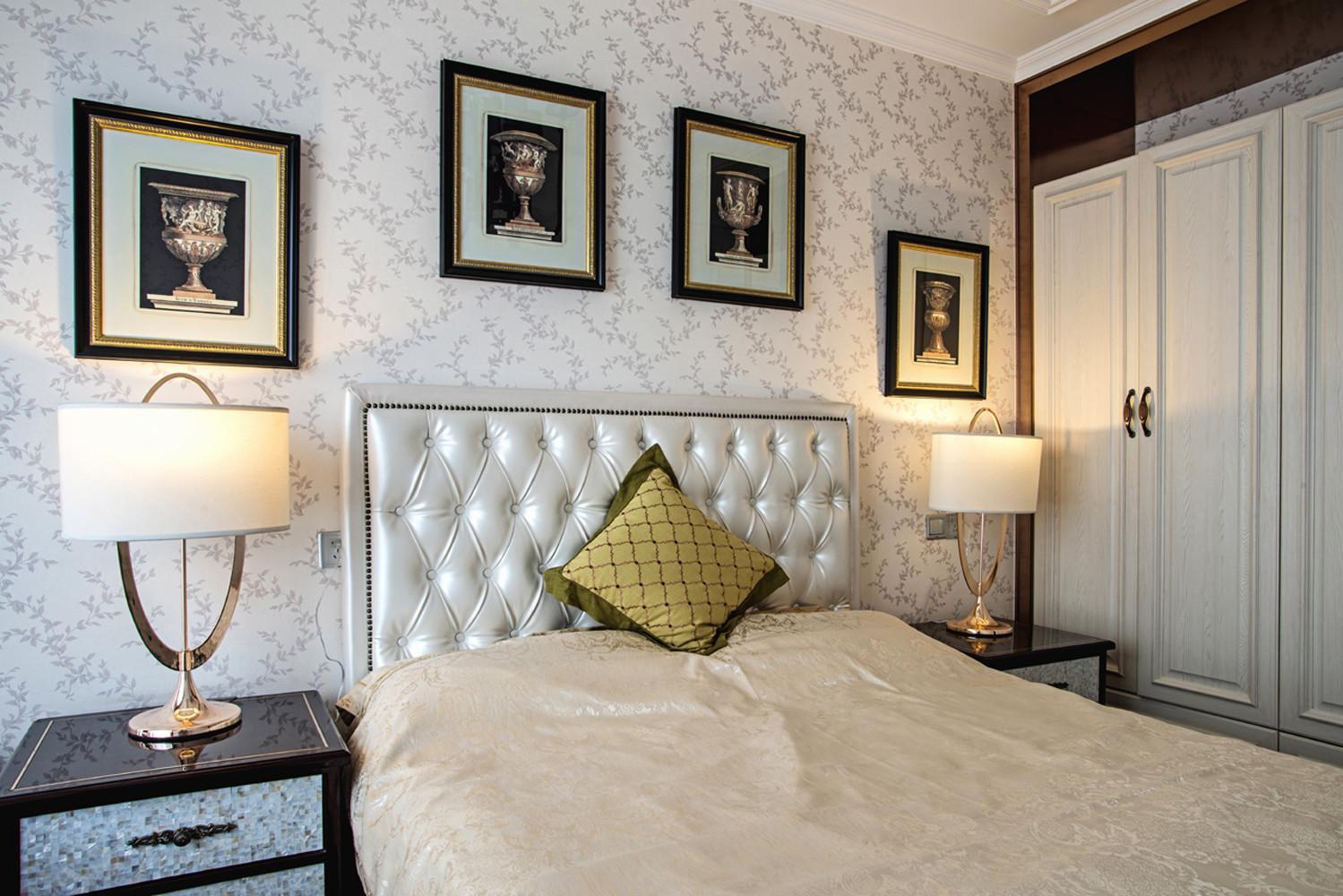 140平欧式装修卧室背景墙图片