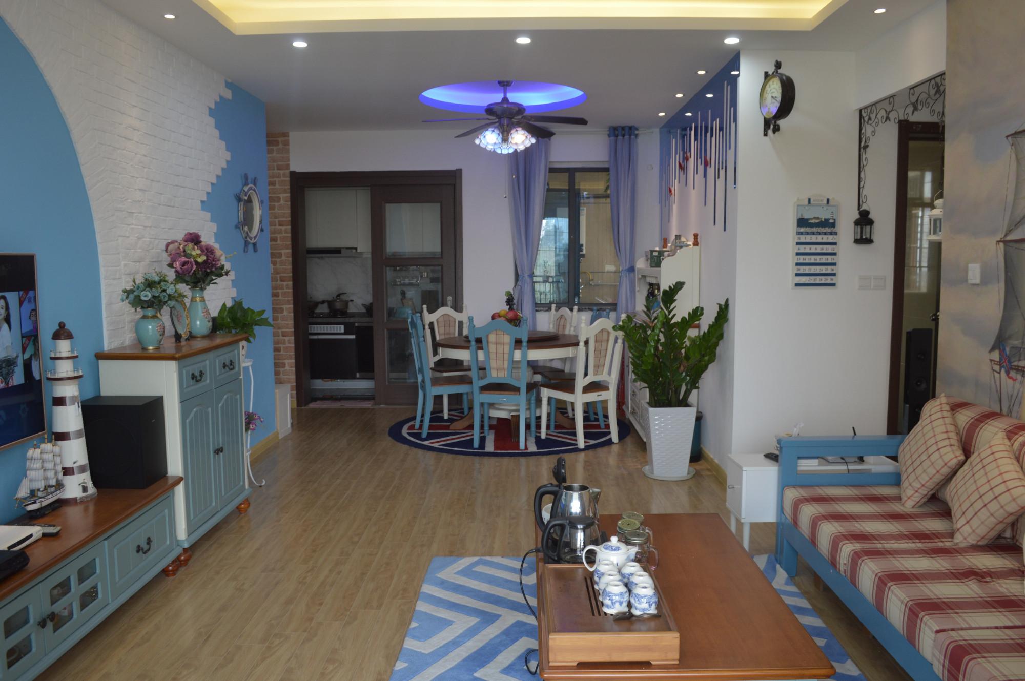 三居室地中海风格家客餐厅全景图