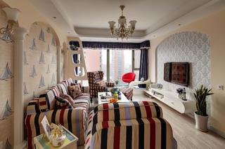 110平地中海三居装修客厅搭配图