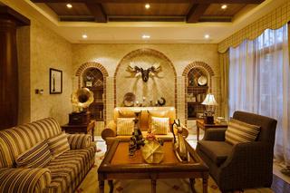 美式田园别墅装修沙发背景墙图片