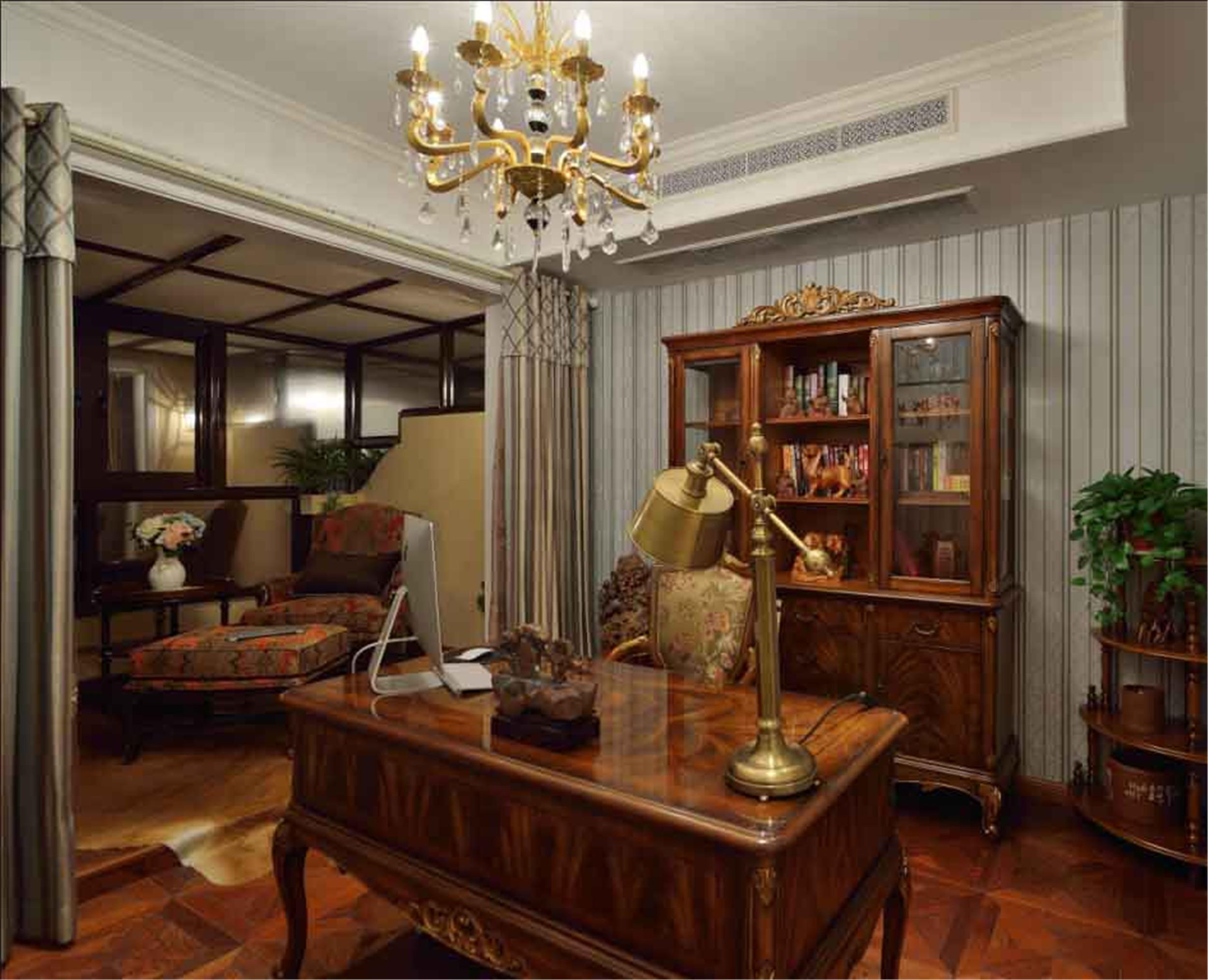 高雅奢华欧式别墅装修书房设计图