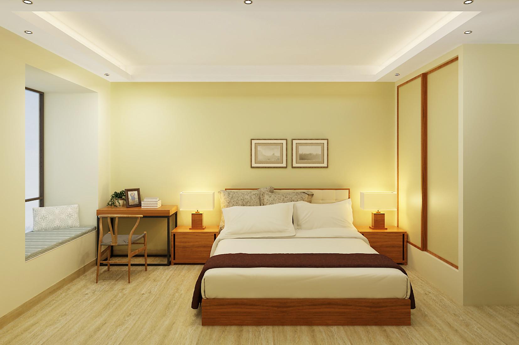 简约中式装修卧室效果图