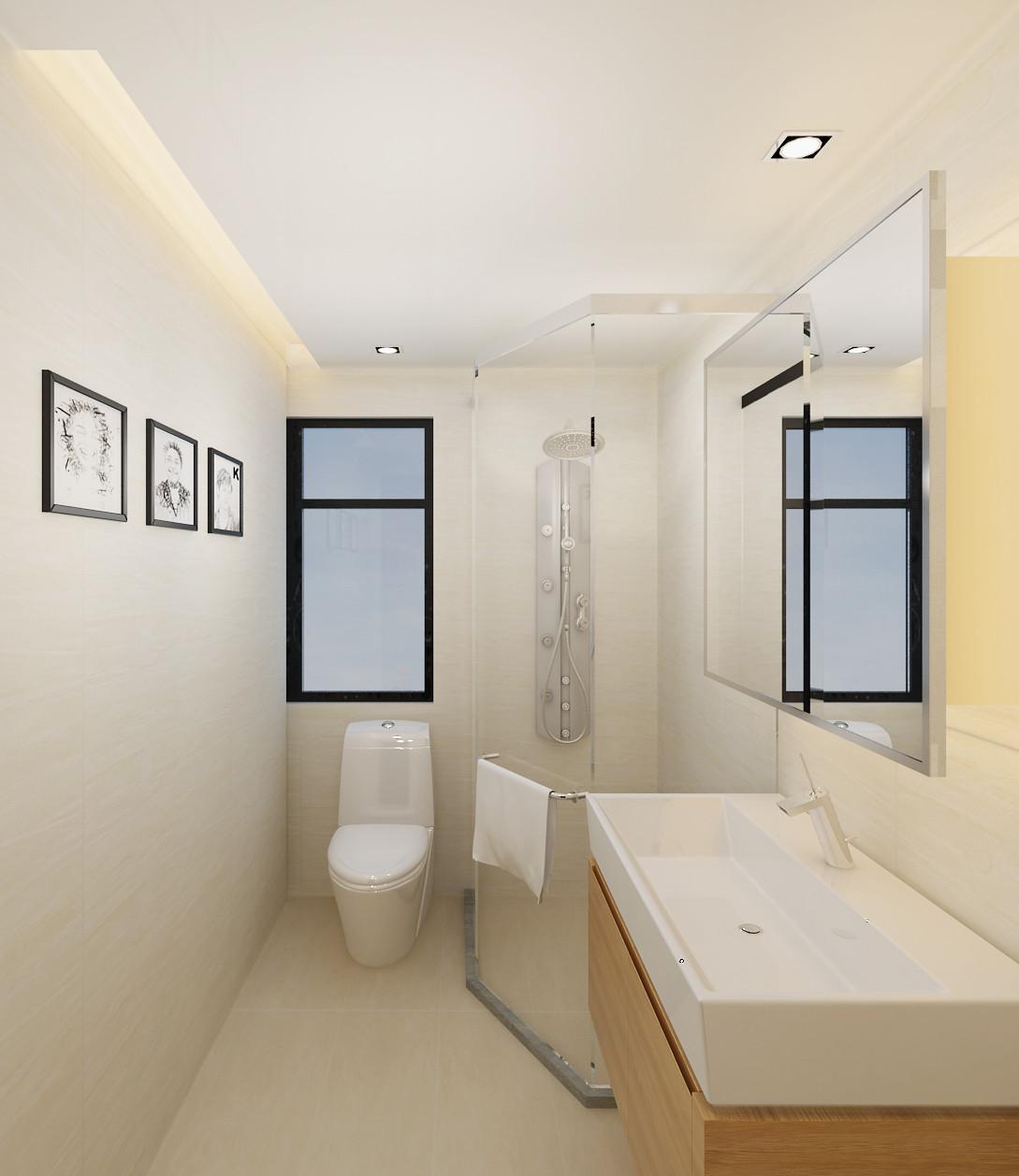 简约中式装修卫生间效果图